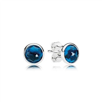 Pandora December Droplets Stud Earrings, London Blue Crystal 290738NLB