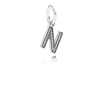 Pandora Letter N Dangle Charm, Clear CZ 791326CZ