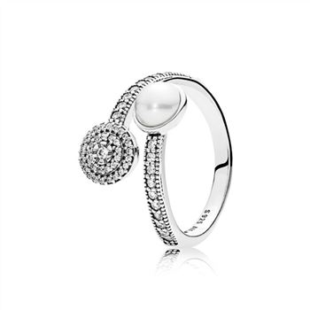 Pandora Luminous Glow Ring, White Crystal Pearl and Clear CZ 191044CZ