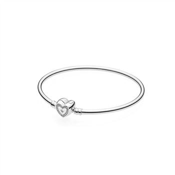 Pandora Moments Silver Bangle, Wishful Hear 590729CZ