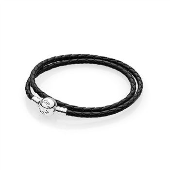 Pandora Moments Single Woven Leather Bracelet, Black 590745CBK-D
