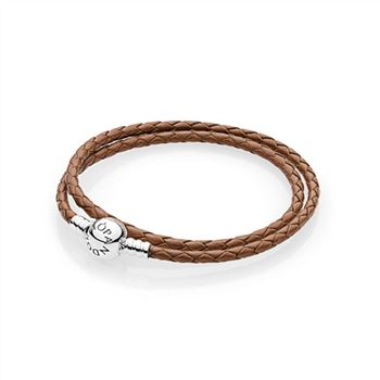 Pandora Brown Braided Double-Leather Charm Bracelet 590745CBN