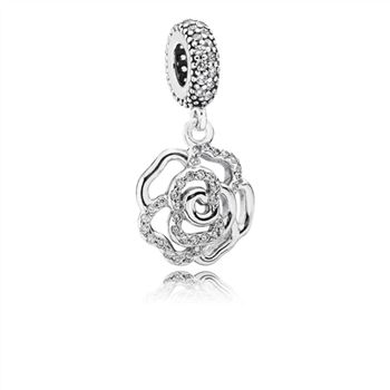 Pandora Shimmering Rose Dangle Charm, Clear CZ 791526cz
